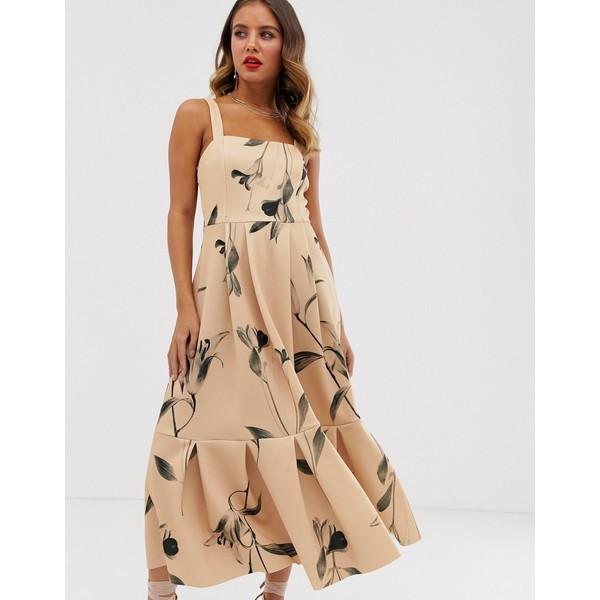 エイソス レディース ワンピース トップス ASOS DESIGN floral cami prom pep hem midi dress Multi