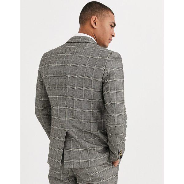 ハリー・ブラウン メンズ ジャケット&ブルゾン アウター Harry Brown slim fit brown overcheck suit jacket Gray