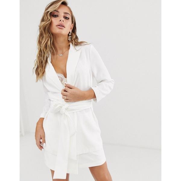 エイソス レディース ジャケット&ブルゾン アウター ASOS DESIGN soft wrap tie waist blazer in white White