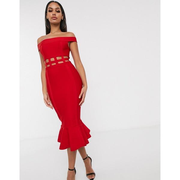 エイソス レディース ワンピース トップス ASOS DESIGN off shoulder premium bandage cage detail pep hem bodycon midi dress Hot red