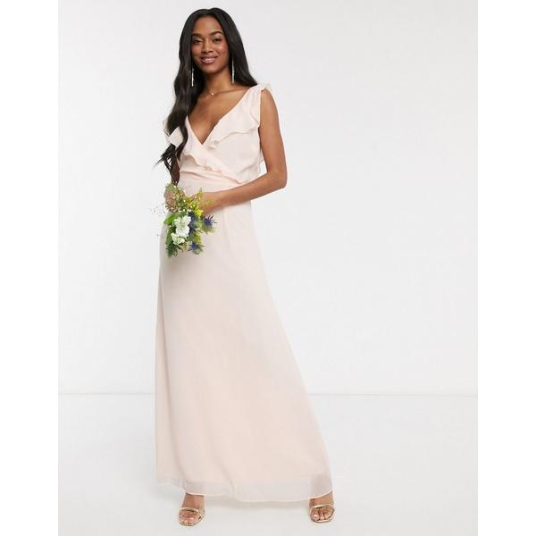 ウエアハウス レディース ワンピース トップス Warehouse Bridesmaids frill wrap chiffon maxi dress with button back in blush pink Blush