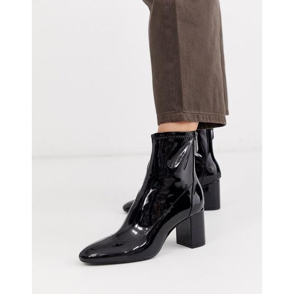 ストラディバリウス レディース ブーツ&レインブーツ シューズ Stradivarius patent heeled boots in black Black