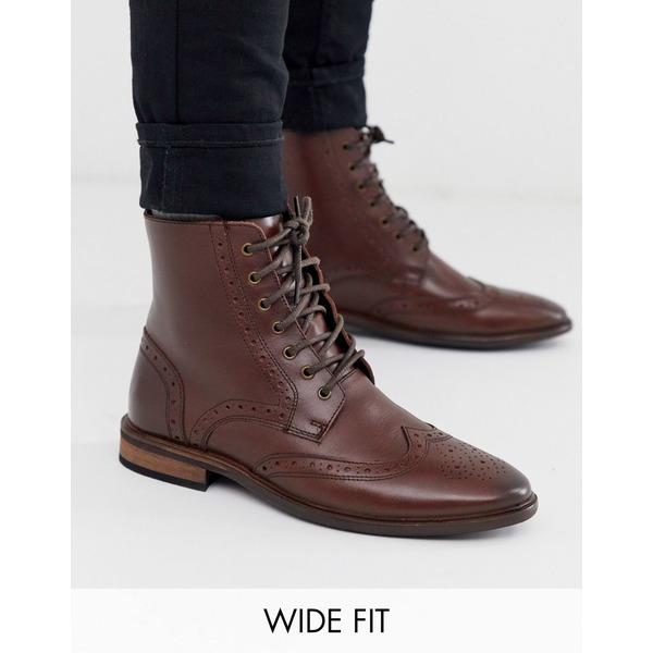 エイソス メンズ ブーツ&レインブーツ シューズ ASOS DESIGN Wide Fit brogue boots in brown leather with natural sole Brown