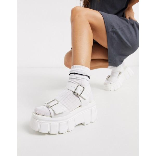 トゥラッフル レディース サンダル シューズ Truffle Collection chunky flatform heeled sandals in white White pu