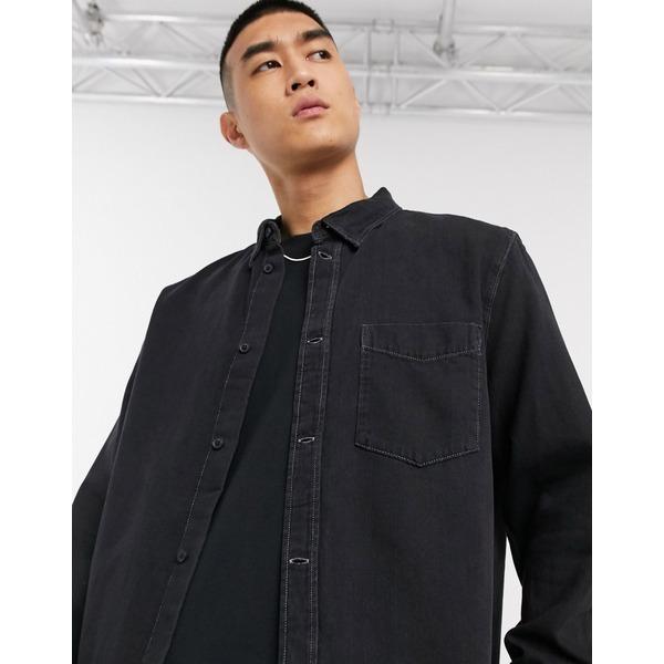 ウィークデイ メンズ シャツ トップス Weekday Neo denim shirt in black Black