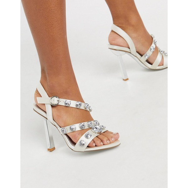 エイソス レディース サンダル シューズ ASOS DESIGN Novella embellished heeled sandals in ivory Ivory