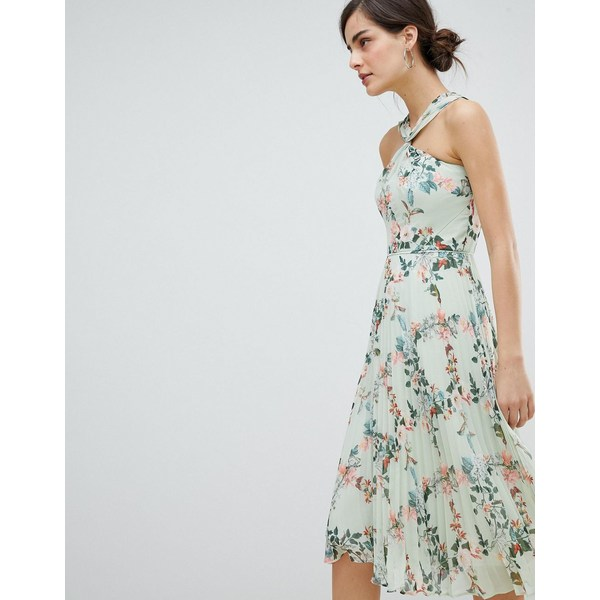 オアシス レディース ワンピース トップス Oasis Halter Neck Fitzwilliam Pleated Midi Dress Multi green