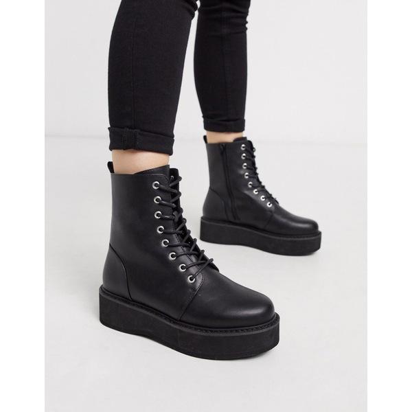 エイソス レディース ブーツ&レインブーツ シューズ ASOS DESIGN Alva chunky lace up ankle boots in black Black