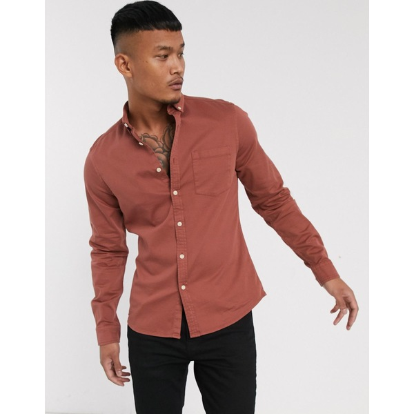 エイソス メンズ シャツ トップス ASOS DESIGN stretch slim fit organic denim shirt in brown Rust