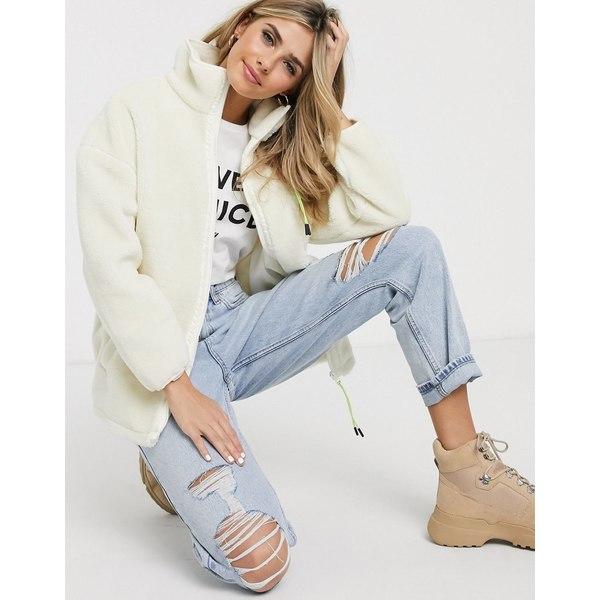 エイソス レディース ジャケット&ブルゾン アウター ASOS DESIGN fleece jacket with tech patch pocket in cream Cream
