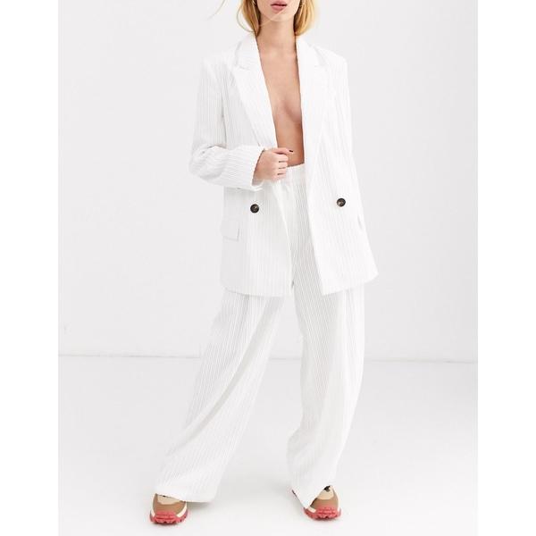 エイソス レディース カジュアルパンツ ボトムス ASOS DESIGN cream cord wide leg suit pants Cream