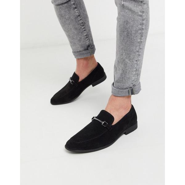 エイソス メンズ スリッポン・ローファー シューズ ASOS DESIGN loafers in black faux suede with snaffle detail Black