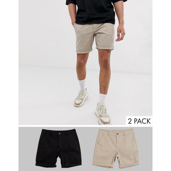 エイソス メンズ カジュアルパンツ ボトムス ASOS DESIGN 2 pack slim chino shorts in beige & black save Cobbleston/black