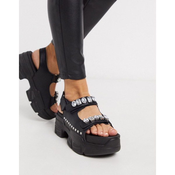 トゥラッフル レディース サンダル シューズ Truffle Collection sporty embellished sandal in black Black