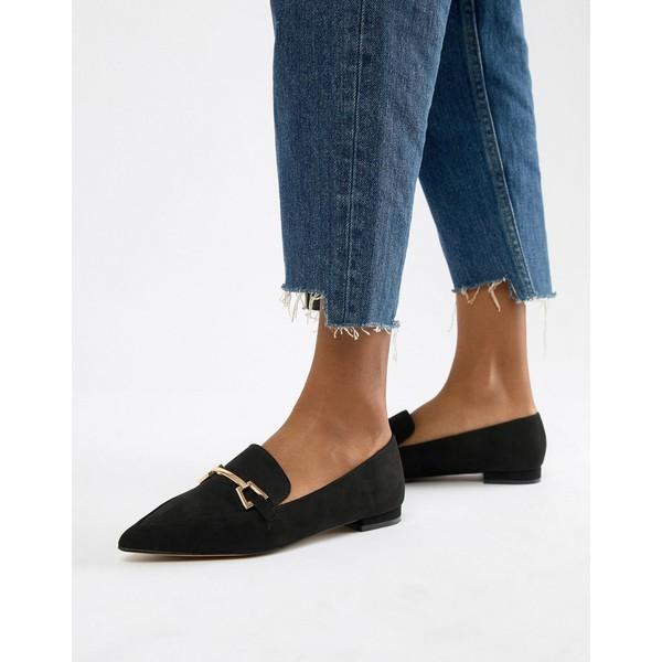 エイソス レディース サンダル シューズ ASOS DESIGN Lance Pointed Loafer Ballet Flats Black