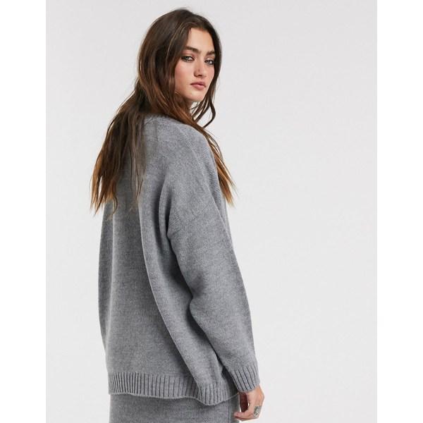 エイソス レディース ニット&セーター アウター ASOS DESIGN two-piece oversized chunky crew neck sweater Gray