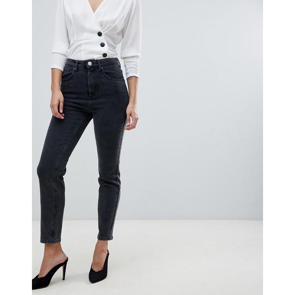 エイソス レディース デニムパンツ ボトムス ASOS DESIGN Farleigh high waisted slim mom jeans in washed black Washed black