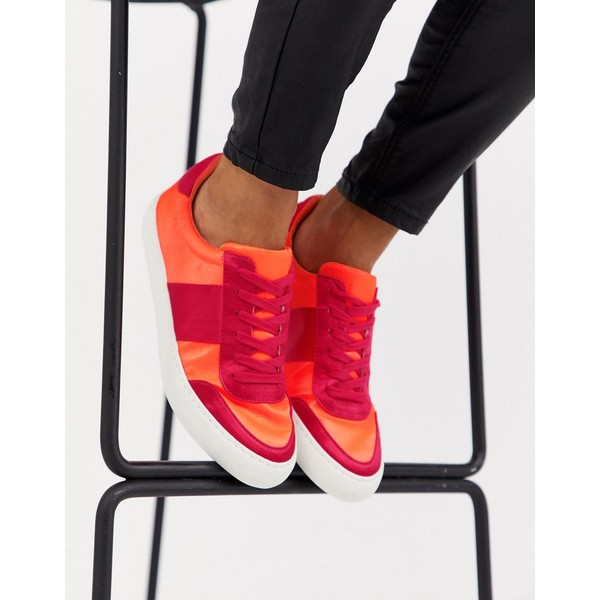 エイソス レディース スニーカー シューズ ASOS DESIGN Dime lace up sneakers in fluoro mix Fluoro mix