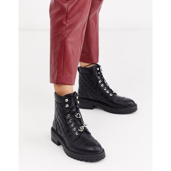 ストラディバリウス レディース ブーツ&レインブーツ シューズ Stradivarius quilted lace front chunky boots in black Black