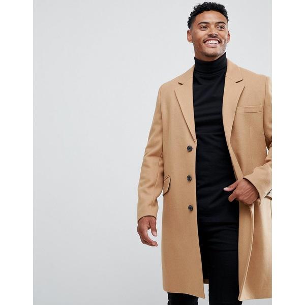 エイソス メンズ コート アウター ASOS DESIGN wool mix overcoat in camel Camel
