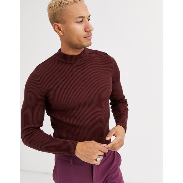 エイソス メンズ ニット&セーター アウター ASOS DESIGN muscle fit ribbed turtleneck sweater in burgundy Burgundy