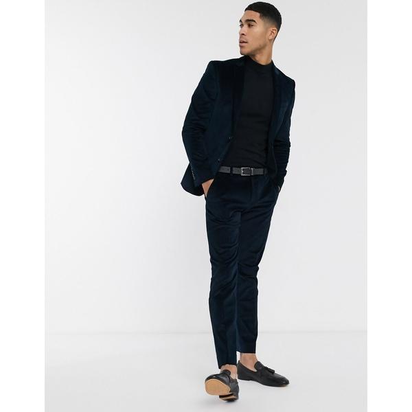 リバーアイランド メンズ カジュアルパンツ ボトムス River Island skinny suit pants in blue cord Teal