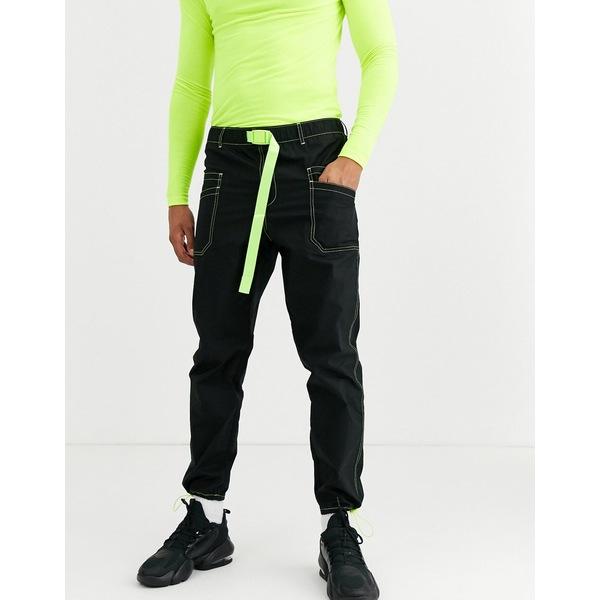 エイソス メンズ カジュアルパンツ ボトムス ASOS DESIGN tapered cargo pants in black with neon contrast stitch and webbed belt Black