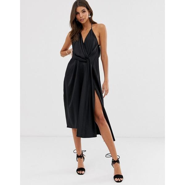 エイソス レディース ワンピース トップス ASOS DESIGN minimal drape midi dress in satin Black