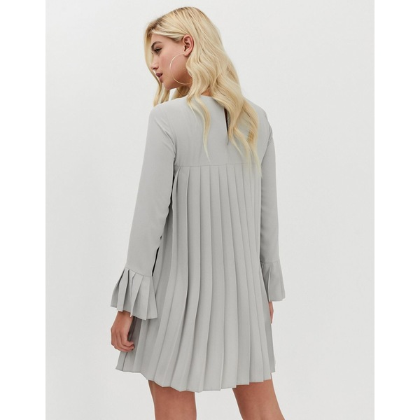 エイソス レディース ワンピース トップス ASOS DESIGN pleated trapeze mini dress with long sleeves Gray