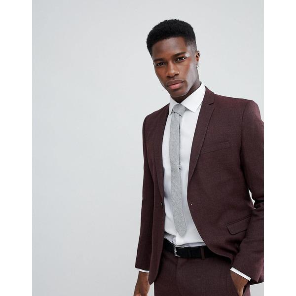 セレクテッドオム メンズ ジャケット&ブルゾン アウター Selected Homme Skinny Suit Jacket In Twisted Yarn Winetasting