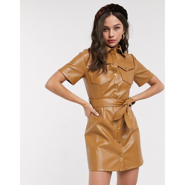 ムーンリバー レディース ワンピース トップス Moon River faux leather mini dress Brown