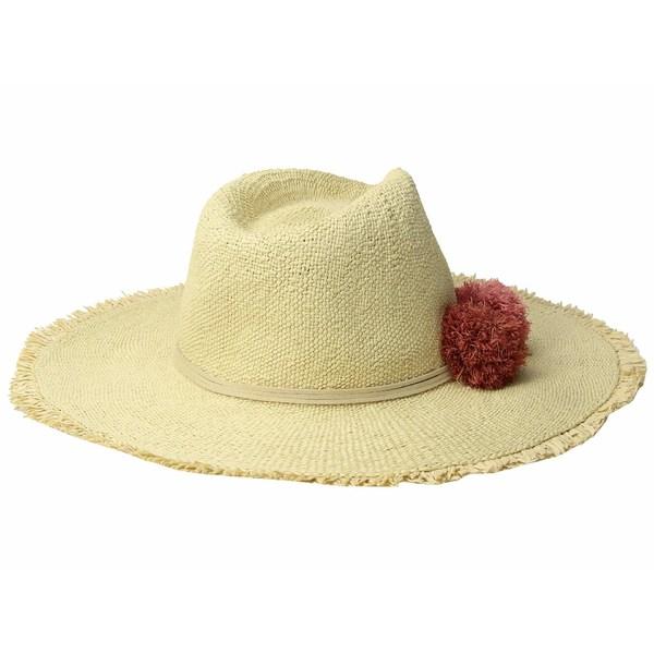 ハットアタック レディース 帽子 アクセサリー Beach Hat with Raffia Poms Trim Natural/Sunrise