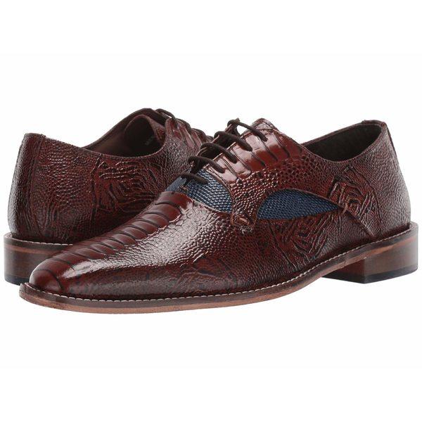 ステイシーアダムス メンズ ドレスシューズ シューズ Ricoletti Leather Sole Plain Toe Oxford Cognac/Dark Blue