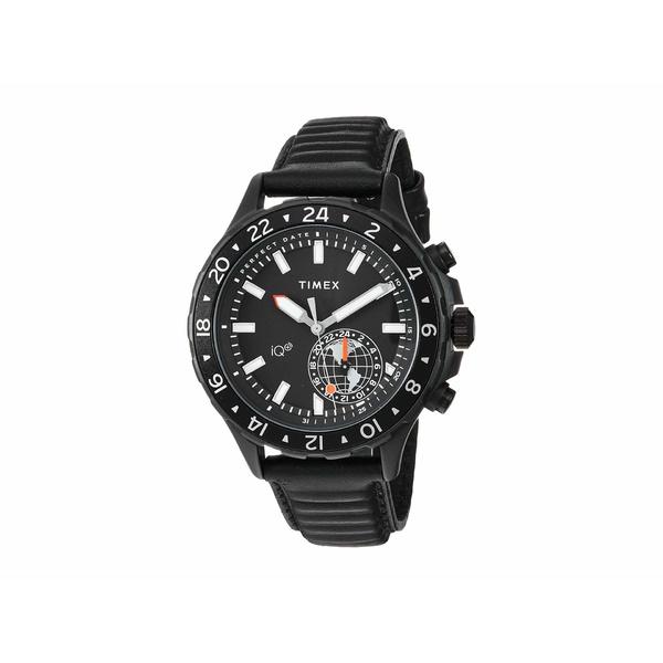 タイメックス メンズ 腕時計 アクセサリー IQ+ Move Multi Time Leather Strap Black