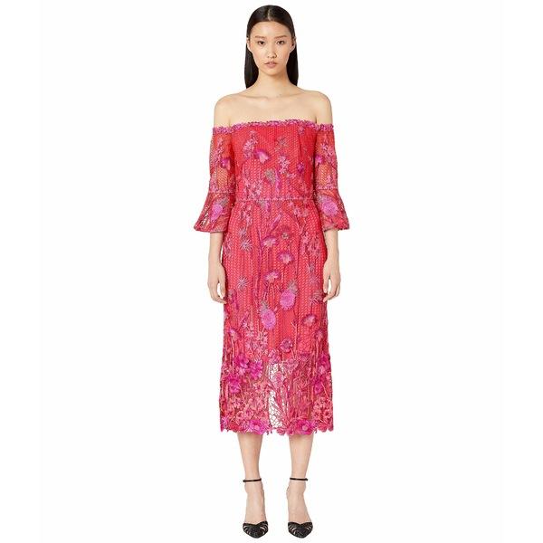 マルケサノット レディース ワンピース トップス Off Shoulder Embroidered Guipure Tea Length Gown Fuchsia