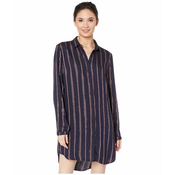ベラダール レディース ワンピース トップス Bridgeport Lurex Stripe Hidden Placket Classic Shirtdress Navy