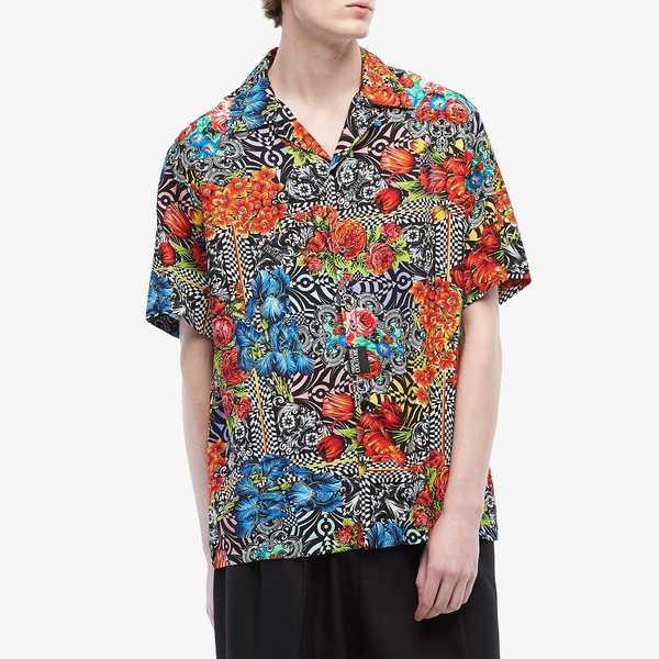 ベルサーチ メンズ シャツ トップス Optical Flower Print Short Sleeve Shirt Black Multicolor