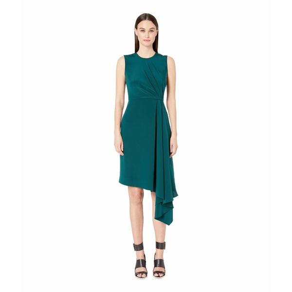 アダム リピズ レディース ワンピース トップス Silk Crepe Sleeveless Crew Neck Dress w/ Side Drape Emerald