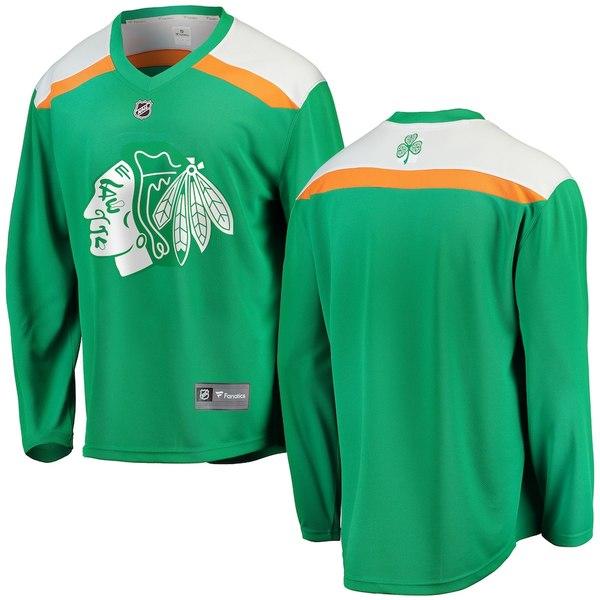 ファナティクス メンズ シャツ トップス Chicago Blackhawks Fanatics Branded St. Patrick's Day Replica Blank Jersey Green