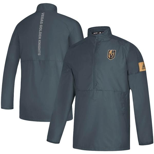 アディダス メンズ ジャケット&ブルゾン アウター Vegas Golden Knights adidas Game Mode Quarter-Zip Jacket Gray
