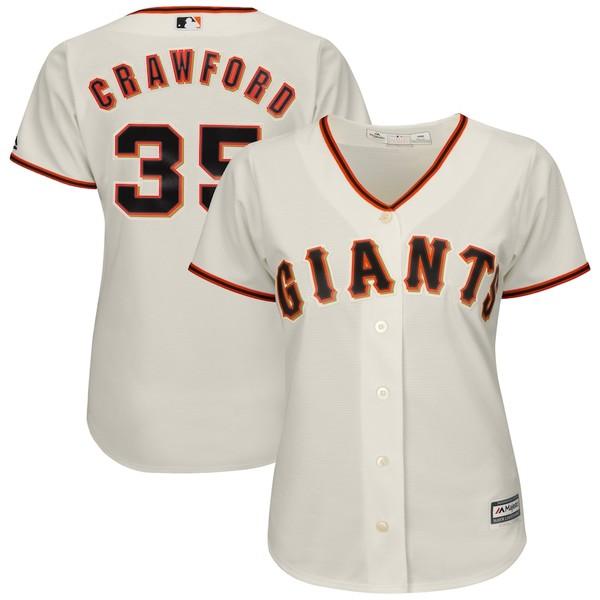 マジェスティック レディース シャツ トップス Brandon Crawford San Francisco Giants Majestic Women's Cool Base Player Jersey Cream