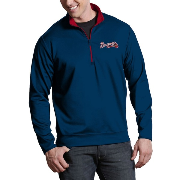 アンティグア メンズ ジャケット&ブルゾン アウター Atlanta Braves Antigua Leader Quarter-Zip Pullover Jacket Navy