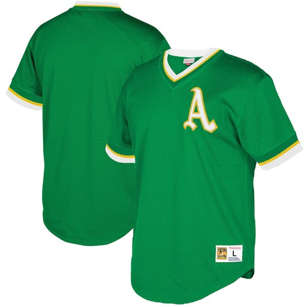 ミッチェル&ネス メンズ シャツ トップス Oakland Athletics Mitchell & Ness Mesh V-Neck Jersey Green