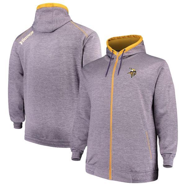 マジェスティック メンズ パーカー・スウェットシャツ アウター Minnesota Vikings Majestic Big & Tall Space Dye Full-Zip Hoodie Purple