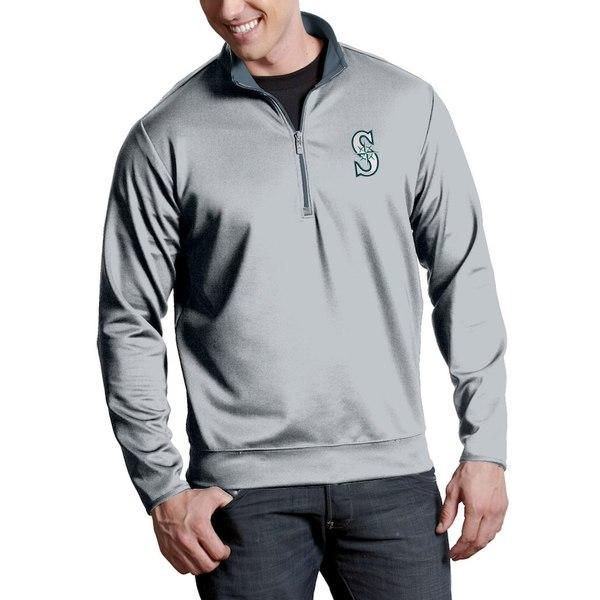 アンティグア メンズ ジャケット&ブルゾン アウター Seattle Mariners Antigua Leader Quarter-Zip Pullover Jacket Silver