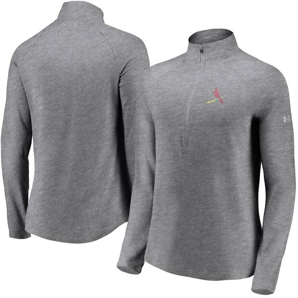 アンダーアーマー レディース ジャケット&ブルゾン アウター St. Louis Cardinals Under Armour Women's Passion Alternate Performance Tri-Blend Raglan Half-Zip Pullover Jacket Heathered Gray
