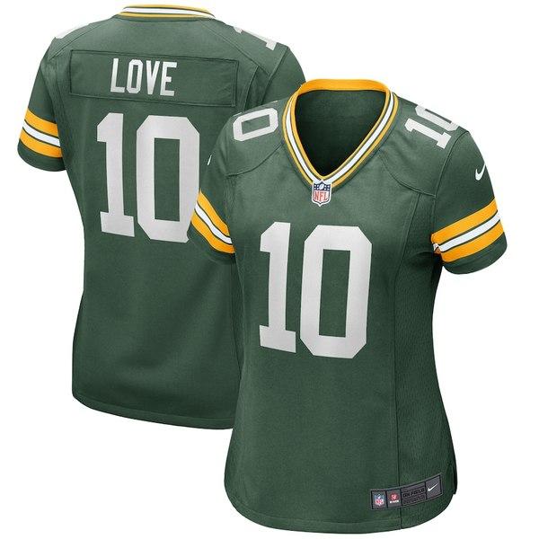 ナイキ レディース シャツ トップス Jordan Love Green Bay Packers Nike Women's Game Jersey Green