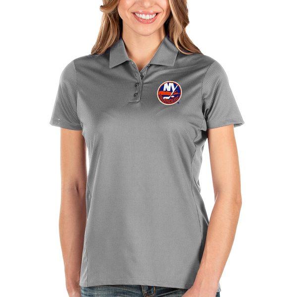 アンティグア レディース ポロシャツ トップス New York Islanders Antigua Women's Balance Polo Gray