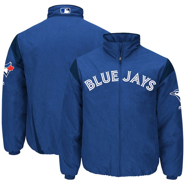 マジェスティック メンズ ジャケット&ブルゾン アウター Toronto Blue Jays Majestic On-Field Therma Base Thermal Full-Zip Jacket Royal