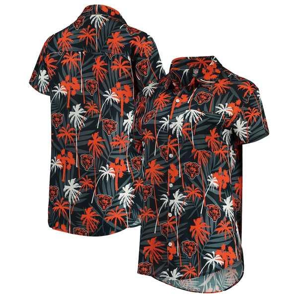 フォコ レディース シャツ トップス Chicago Bears Women's Floral Harmonic Button-Up Shirt Navy